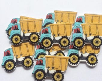 10 x Wood Dump Truck Two Hole Buttons 29 x 21mm