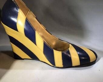 Navy / yellow stripe wedge heel sz 10