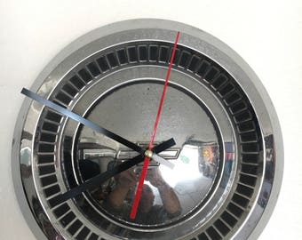 Vintage Chevy hubcap clock