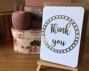 Thank you card in gold hot foil