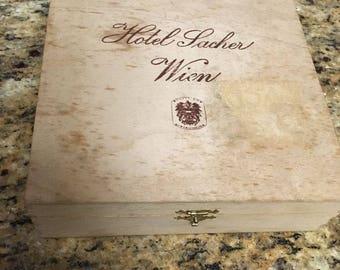 """Hotel Lacher Wien cigar box , wood  7-1/2"""" x 7-1/2"""" x 2-1/8"""" ( Vienna Austria)"""