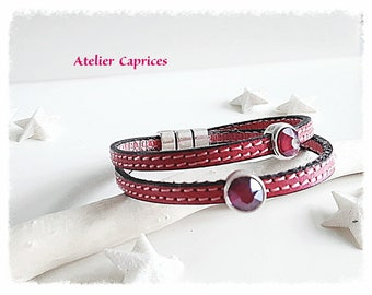Pink leather, double strand Swarovski Crystal bracelet