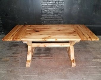 Hickory Dining Table w/Extensions, Farmhouse X Trestle Table, Rustic Wood Table