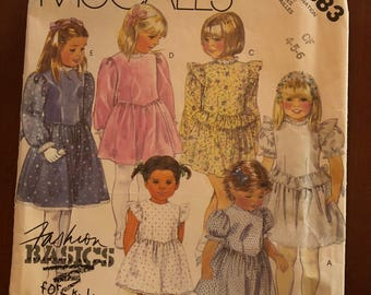 Girl's dress, McCall's 2883, party type with short or long sleeves, vintage 1986