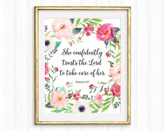 She confidently trusts the Lord, Psalm 112:7, Printable bible verse, Scripture, Christian wall art, Nursery quote, Baby girl, Gift for her