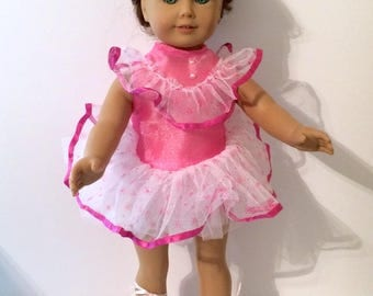 SALE 18 Inch Doll Clothes Ballerina Outfit With Pink and White with Matching Panties and Ballet Shoes Also Fit American Girl Doll Clothes