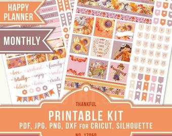 Thanksgiving Planner Stickers, November Planner Kit, Happy Planner Sticker, November Monthly, Printable Sticker Kit, MAMBI Planner, 17050