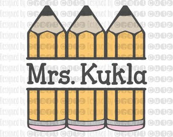 Teacher Monogram - Classroom Sign - Back To School - Pencil SVG - Vector Files - Silhouette Cut Files - Cricut Cut Files - SVG