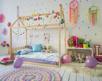 Toddler bed, house bed, tent bed, wooden house, wood house, kids teepee bed, wood house bed, wood bed frame play bed floor bed HEADBOARD