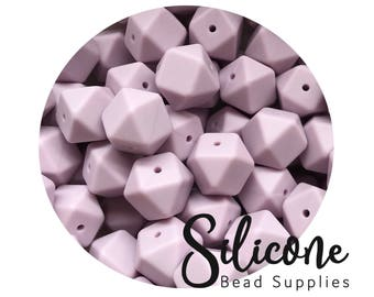 17mm - Lilac Hexagon Silicone Beads, 50 plus Silicone Teething Beads, 100% Food Grade Silicone Beads, BPA Free, Silicone Loose Bead