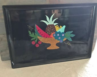 Couroc of Monterey Fruit bowl Inlaid Tray- Vintage