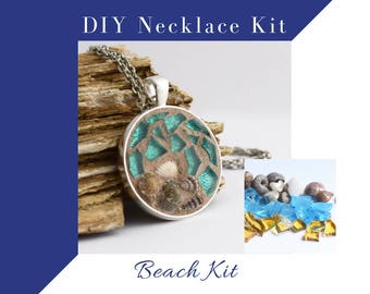 Make Your Own Jewelry Beach Lovers Glass Mosaic Necklace Activity, Do It Yourself Kit, Silver Circle Pendant  with sea shells, DIY Craft Kit