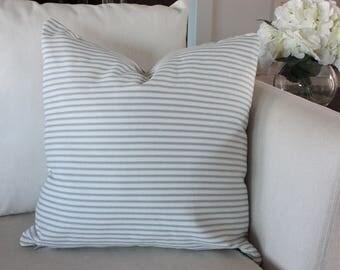 White, Blue Ticking Grain Sack Style, Feed Sack Style Pillow Cover, Farmhouse Pillow Cover, Vintage Throw Pillow
