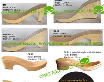 1 Pair Wooden Heels/Soles to make shoes and clogs