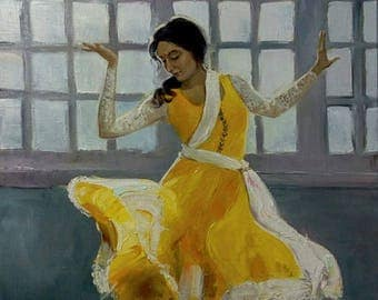 The Dance of light 60x90 cm Original oil painting Indian Folk Dancing Girl in Yellow Sari on linen canvas Large Wall Art Living room decor