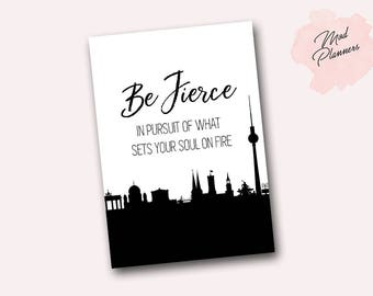 Printable - Be Fierce Dashboard Pocket, A6, Personal and B6!
