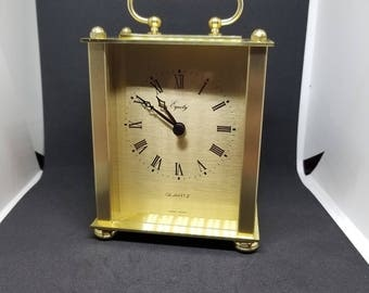 VINTAGE 70s Gold 'Equity' Carriage Clock - still in box!