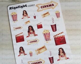 Movie Night - Cinema Deco Sticker   Deco stickers   Planner stickers for Erin Condren, Kikki.K, Happy Planner, Plum Planner