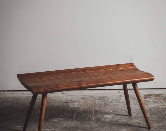 Walnut Bench - entryway bench - mid century bench - free shipping
