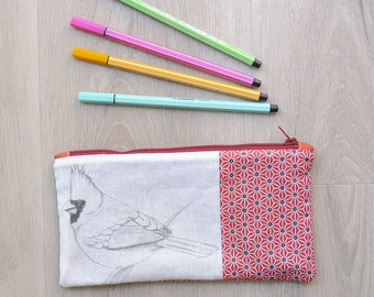 Pouch Pocket with pencil, makeup, brushes, CARDINAL, fabric graphic design grey