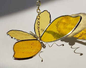 Stained glass butterfly, with glass wings,handcast tin body, to hang in window as decoration, butterfly in glass 10 cm