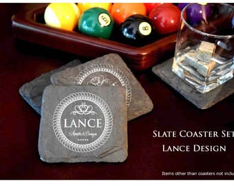 Slate Coaster Set. Laser Etched with LANCE design
