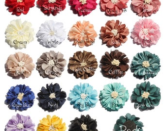 5cm Newborn Vintage Wrinkles Fabric Flowers with Match End Do Old Chiffon Hair Flowers for Kids Hair Accessories