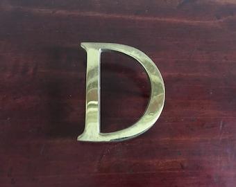 Vintage Solid Brass D Letter