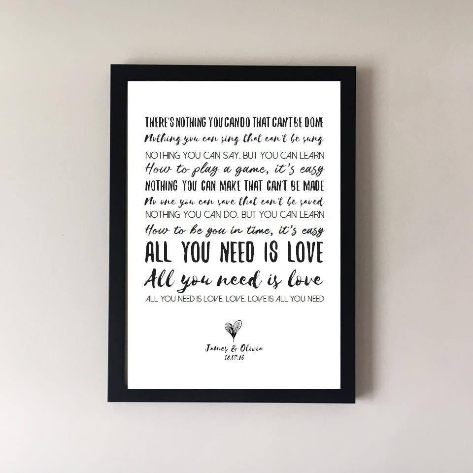 All You Need Is Love Song Lyrics Print The Beatles Wedding