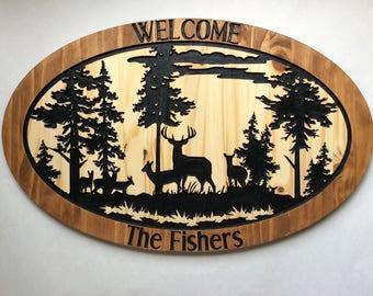Wood Engraved Custom Woods Deer Hunting Scene Sign
