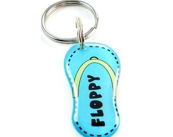 Blue Flip Flop Pet Id Tag