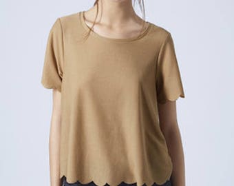 Top Shop scalloped blouse. Light brown/tan. Size medium. Like new condition.