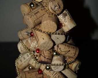 small red and gold handmade wine cork holiday tree