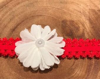 White flower headband, red and white headband, white and red headband, red headband, white headband, red baby headband, Valentine's Day head