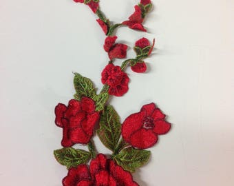 Red rose embroidered flower appliqué