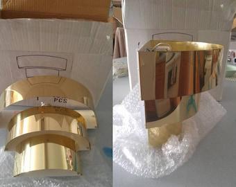 Set of 2 mid-century modern/art deco 3 tier half round brass wall sconces NIB