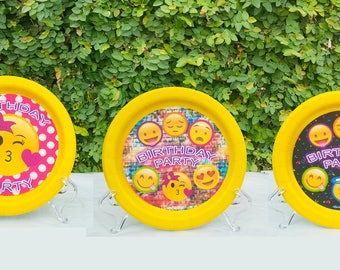 Emoji paper plates, birthday party decorations