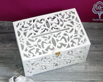 Wedding card box with slot Card box for wedding Wedding Gift Card Box Wooden Money Box Wedding Keepsake Box Wedding card holder