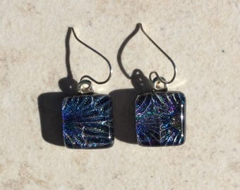 Dichroic Fused Glass Earrings - Purple Blue Starburst Pattern Earrings with Solid Sterling Silver Ear Wires