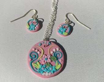 Unique Flower Earring and Pendant Set, Clay Applique Jewelry, Earrings and Necklace set, Gift for Her