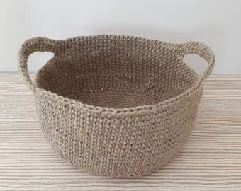 Handmade Crochet Jute Storage Basket, Decorative Storage, Jute Basket, Dekorative Jute Korb