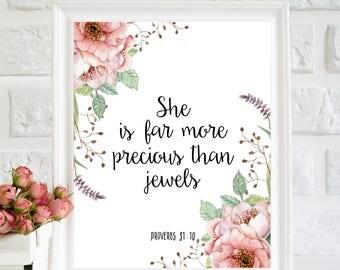 She is far more precious than jewels, Girls Quote Art, Bible verse art, Baby Girl Nursery, Scripture wall art, Floral nursery art, printable