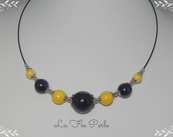 Crew neck black and lemon yellow ceramic beads