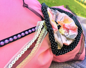 Vintage Chic. Pink and Black Polka-Dot Bow Pillow