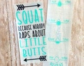 little butts decal - funny stickers - fitness motivation - gym accessories - gym equipment - water tracker - water bottle stickers