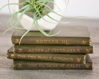 OLD Set of 4 Vintage Green & Gold Pocket Books from the 1800s, Shakespearean, Edward III, Two Noble Kinsmen, Old Classic Book, Rare Book Set