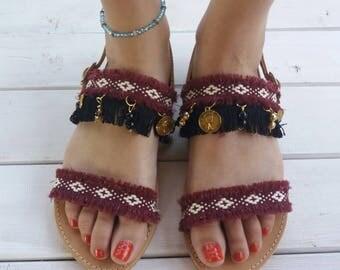 "Bohemian sandals, Greek leather sandals, Gladiator sandals, Greek sandals, Red sandals, Flat sandals, ""Athena"""