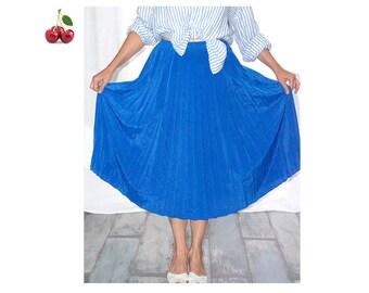 Pleated midi skirt vintage 80's MIDI skirt high waist satin blue colorblock minimalist midi skirt accordion pleated skirt elastic waist