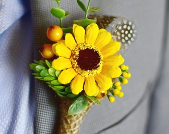 Summer party Country boutonniere Sunflower Rustic boutonniere Groom boutonniere Groom corsage pin Suit lapel pin Rustic buttonhole