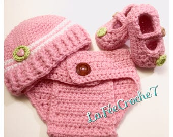 Outfit for baby crochet hat, diaper cover and booties Mary Jane, pink, white, lime, wood button